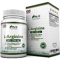 L-Arginina 4000 - 365 Comprimidos Vegetarianos y Veganos, Suministro Hasta Para Un Año de L-Arginina HCL, 1000 mg por Comprimido, Más Potente Que las Cápsulas de L-Arginina de las Marcas Competidoras - Por Nu U Nutrition