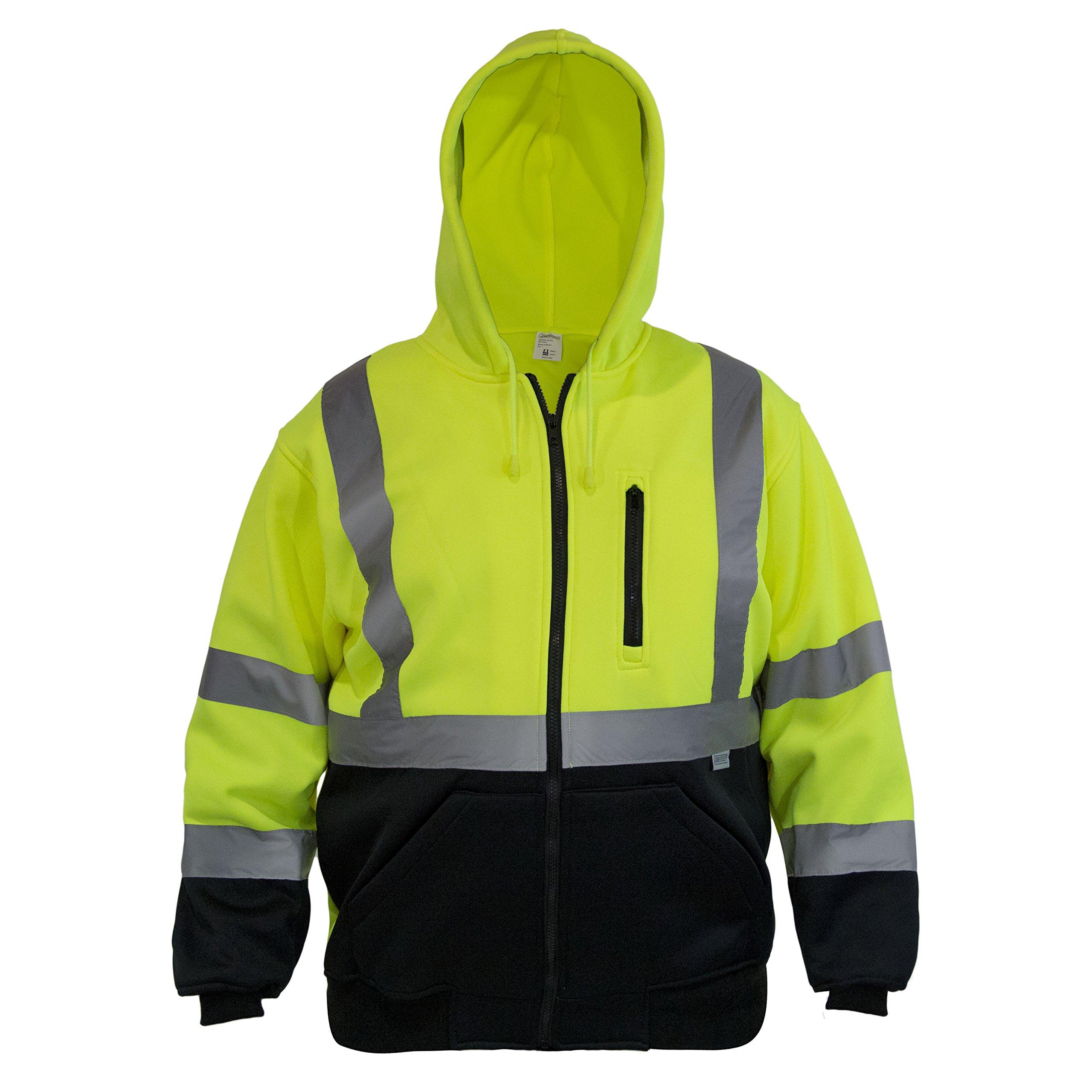 JORESTECH High Visibility Hoodie Full Zipper 100% Polyester ANSI Class 3 (Medium)
