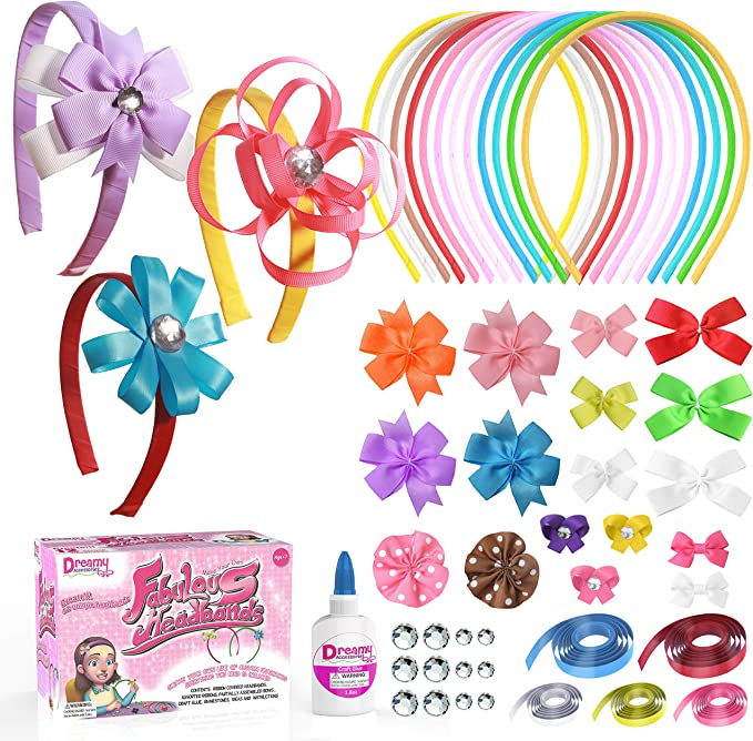HIFOT DIY Bead Hair Ties/Making for Girl Children Elastics Hair Bands Bracelets Jewelry Making Art Craft Creativity Bead Kit
