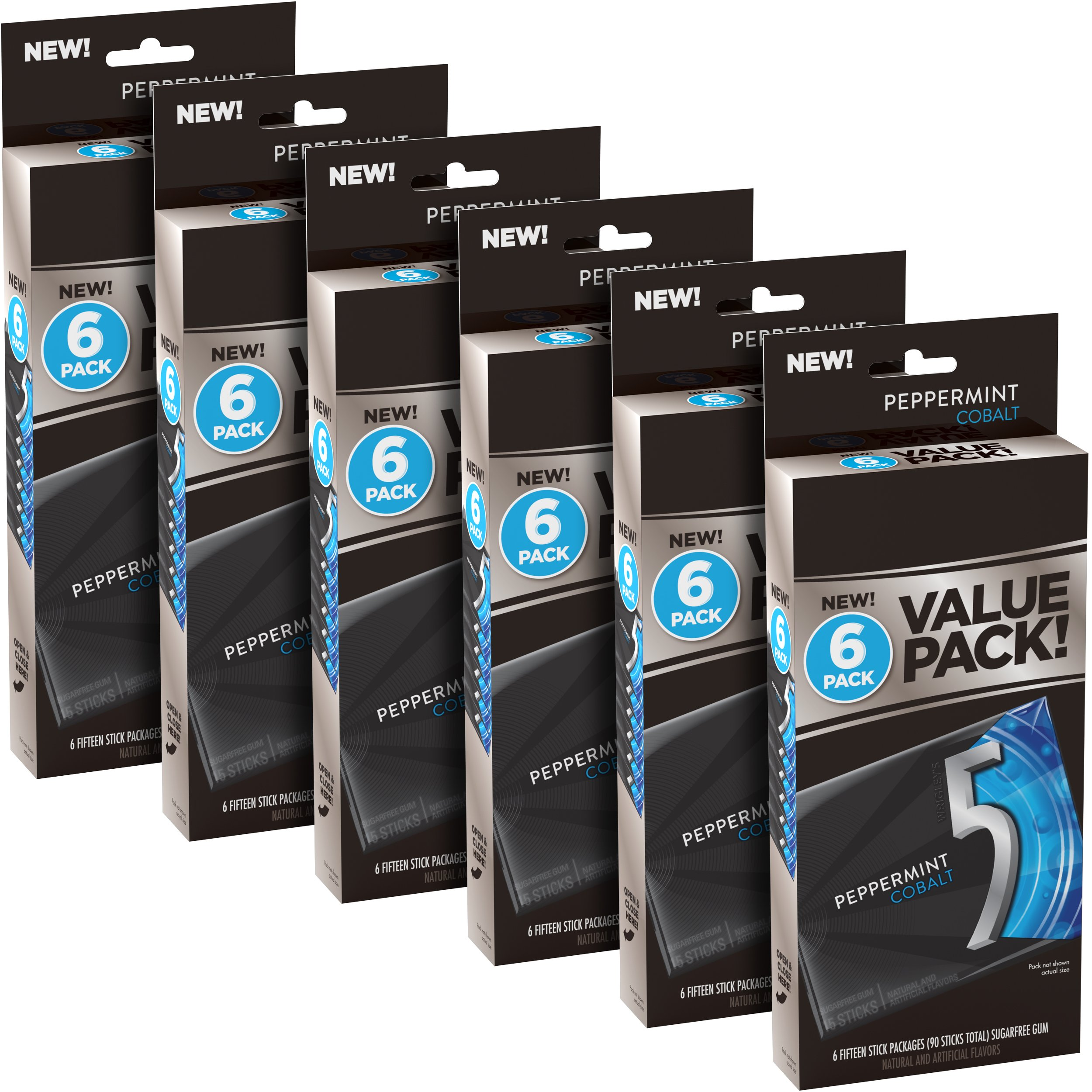 5 Gum Cobalt Peppermint Sugarfree Gum, 6 Value Packs, (36 packs total)