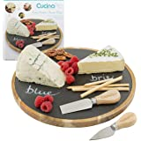 Cheese Board- Deluxe Lazy Susan Rotating Cheese Plate Party Platter Set - Serving Tray w 2 Cheese Knives & Chalk- Great Mothers Day Gift