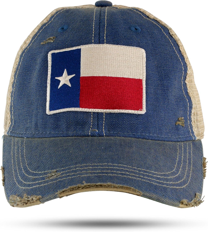 Texas Flag Distressed Trucker Baseball Cap Navy Blue