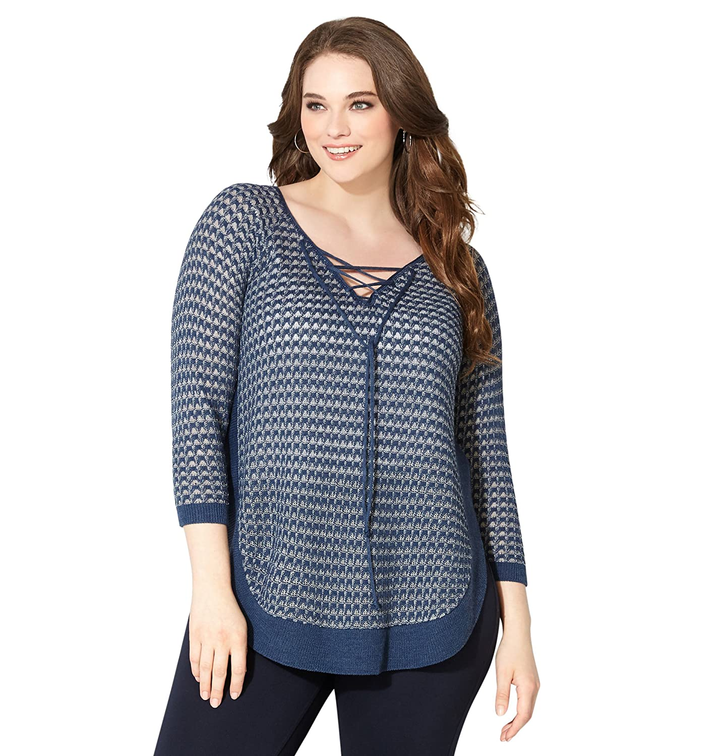 AVENUE Women's Lace-Up Textured Pullover