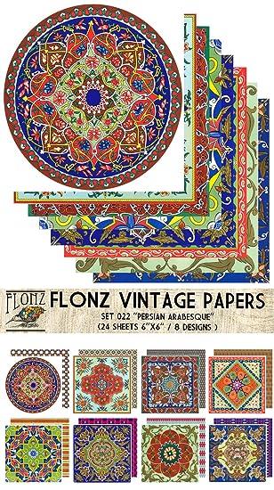 Paper Pack (24blatt 15x15cm) Persian Arabesque FLONZ Vintage Muster ...