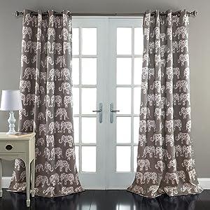 "Lush Decor Elephant Parade Window Curtain Panel, 84"" x 52"", Gray"