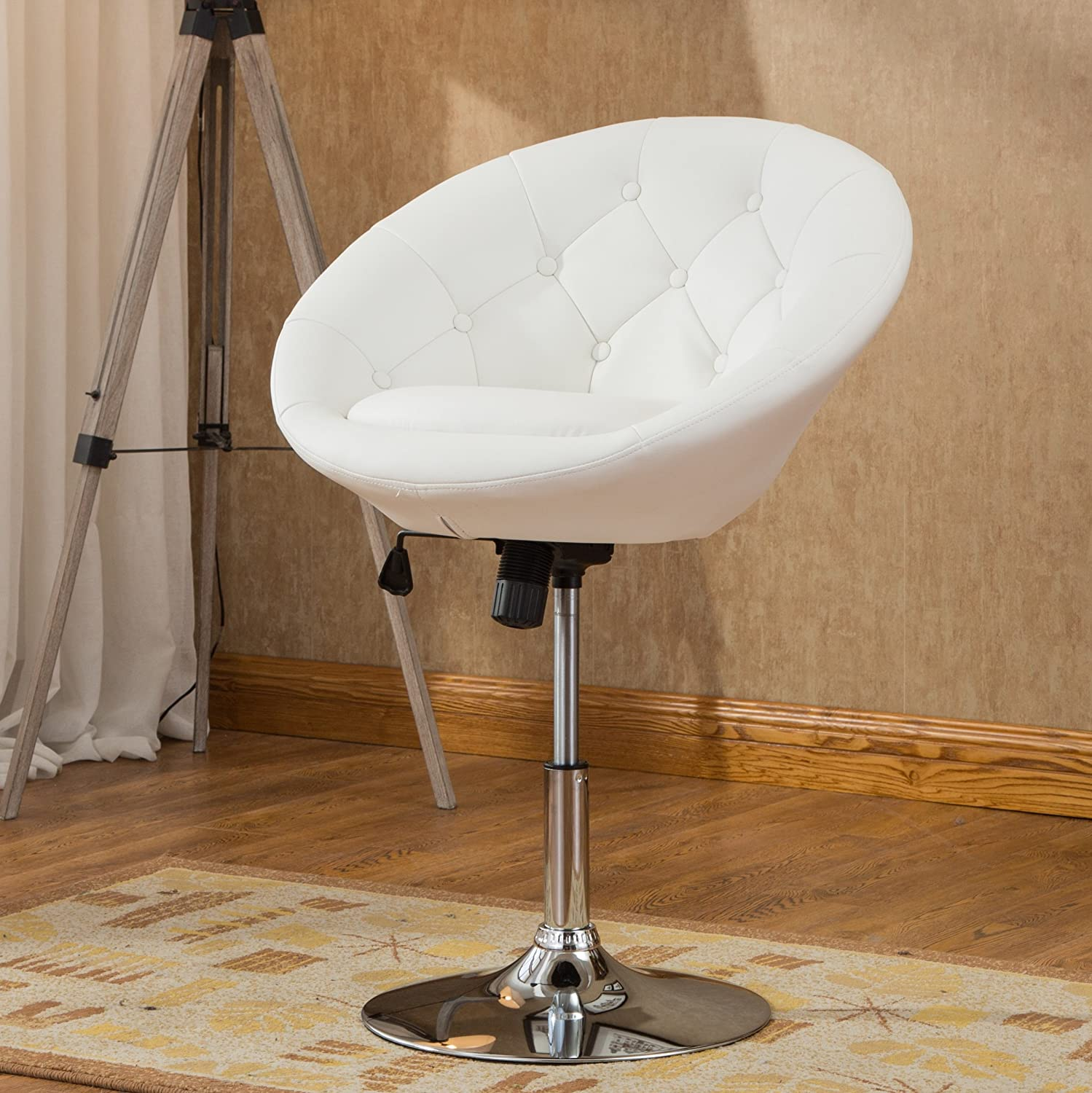 Roundhill Furniture Noas Contemporary Round Tufted Back Tilt Swivel Accent Chair White RH PC165W