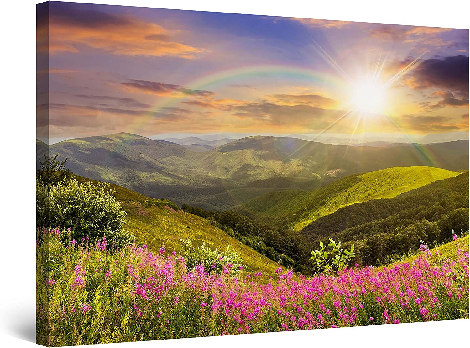 Startonight Canvas Wall Art - Daydream Sun, Rainbow and Beautiful Nature, Landscape Framed 32 x 48 Inches