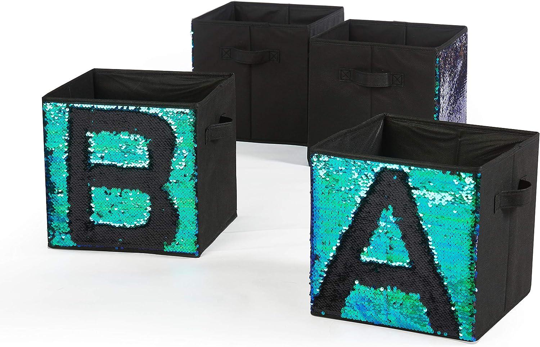 Urban Shop Sequin Storage Cubes, Mermaid/Black, 4 Piece