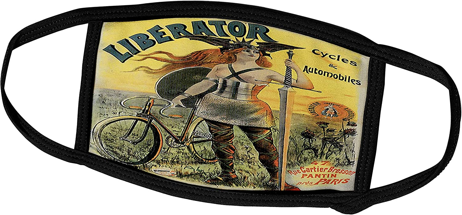 3dRose BLN Vintage Bicycle Advertising Posters - Liberator Cycles and Automobiles Paris France Vintage Advertising Poster - Face Masks (fm_153273_1)