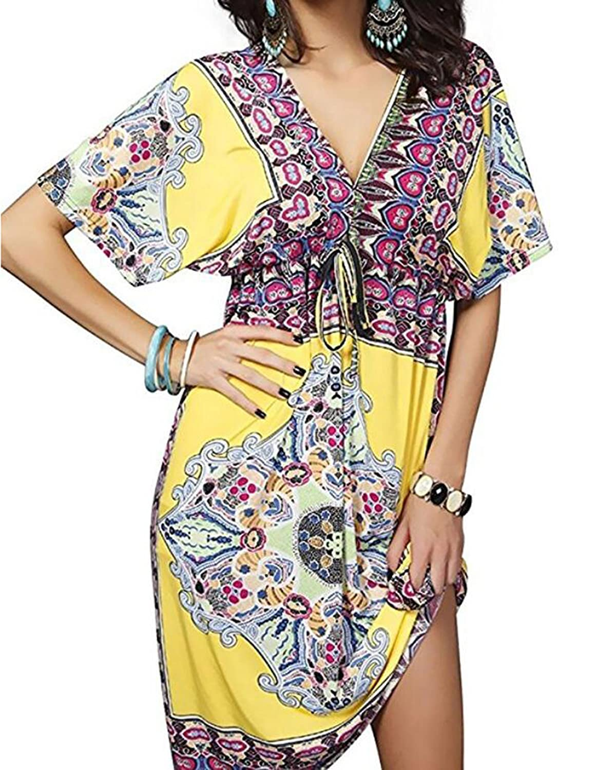 47bc827871 2. amazon prime cover ups Review – LUBERLIN Women's Summer V-Neck Sexy Low  Cut Loose Bikini Swimsuit Cover Ups Bohemia Beach Dress US 4-16