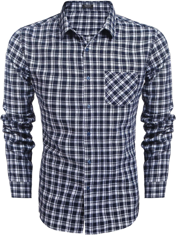 informal para ocio corte normal de cuadros b/ásica fiesta con cuello redondo Camisa de manga larga para hombre COOFANDY para hombre