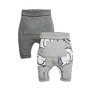 next Garçon Bébé Lot De Deux Pantalons De Jogging Gris Et Motif Éléphant (0 À 2 Ans)