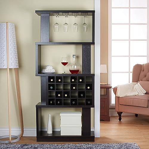 Wine Bar Cabinet Rack Room Divider 4 Tier Shelves Glass Bottle Holders