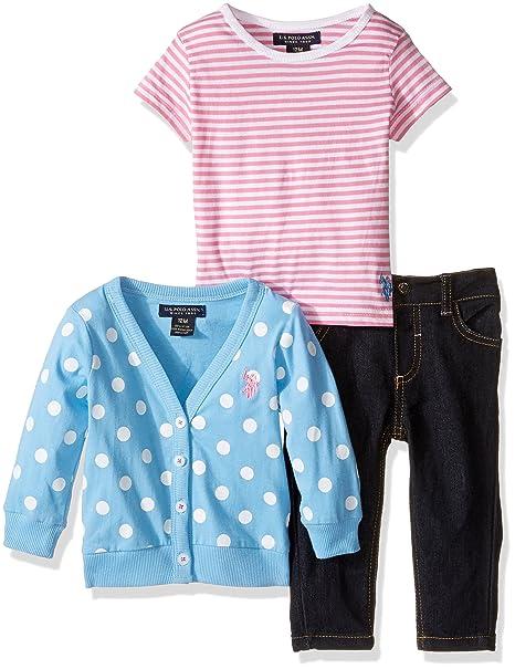 Amazon.com: U.S. Polo Assn. Bebé Lunares chaqueta de punto ...