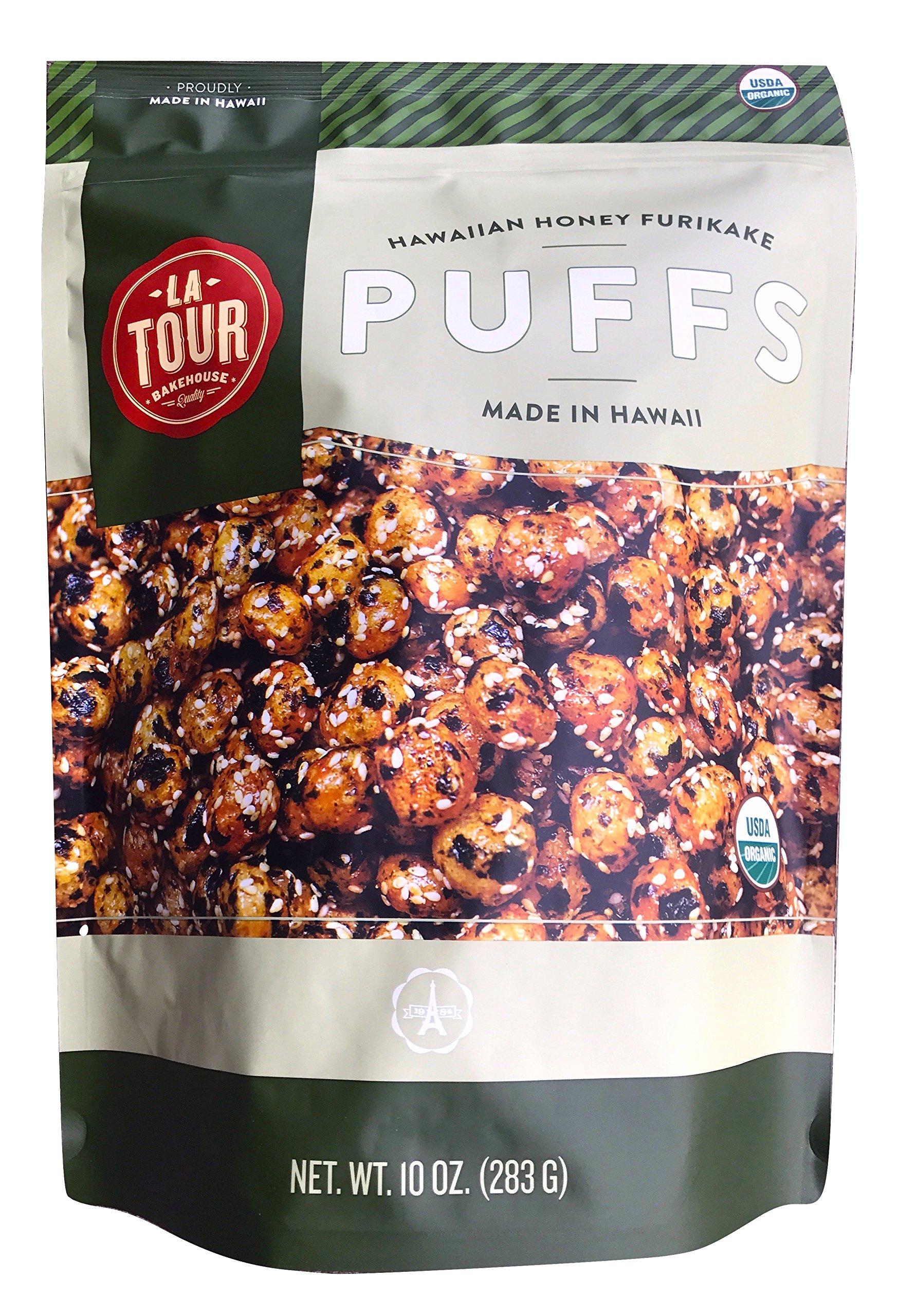 La Tour Organic Furikake Puffs (Whole Grain Puffs) 10 oz Bag