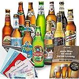 """12x Biere """"Welt & Deutschland"""" Geschenkbox mit Bier aus Türkei + Dänemark + Niederlande +…Efes + Tuborg + Heineken +… und aus Deutschland. Tolles Bier Geschenk für Männer mit Biersorten aus ganz Deutschland und aus aller Welt. Besser als Bier selber machen oder selbst brauen. Biergeschenke für Papa + Vater + Väter + Opa + … Vatertag Geschenke für Männer mit Bier. Männertag + Vatertagsgeschenke / Männertagsgeschenke mit Bier. Leckere Bier Ideen Vatertag / Ideen Männertag"""