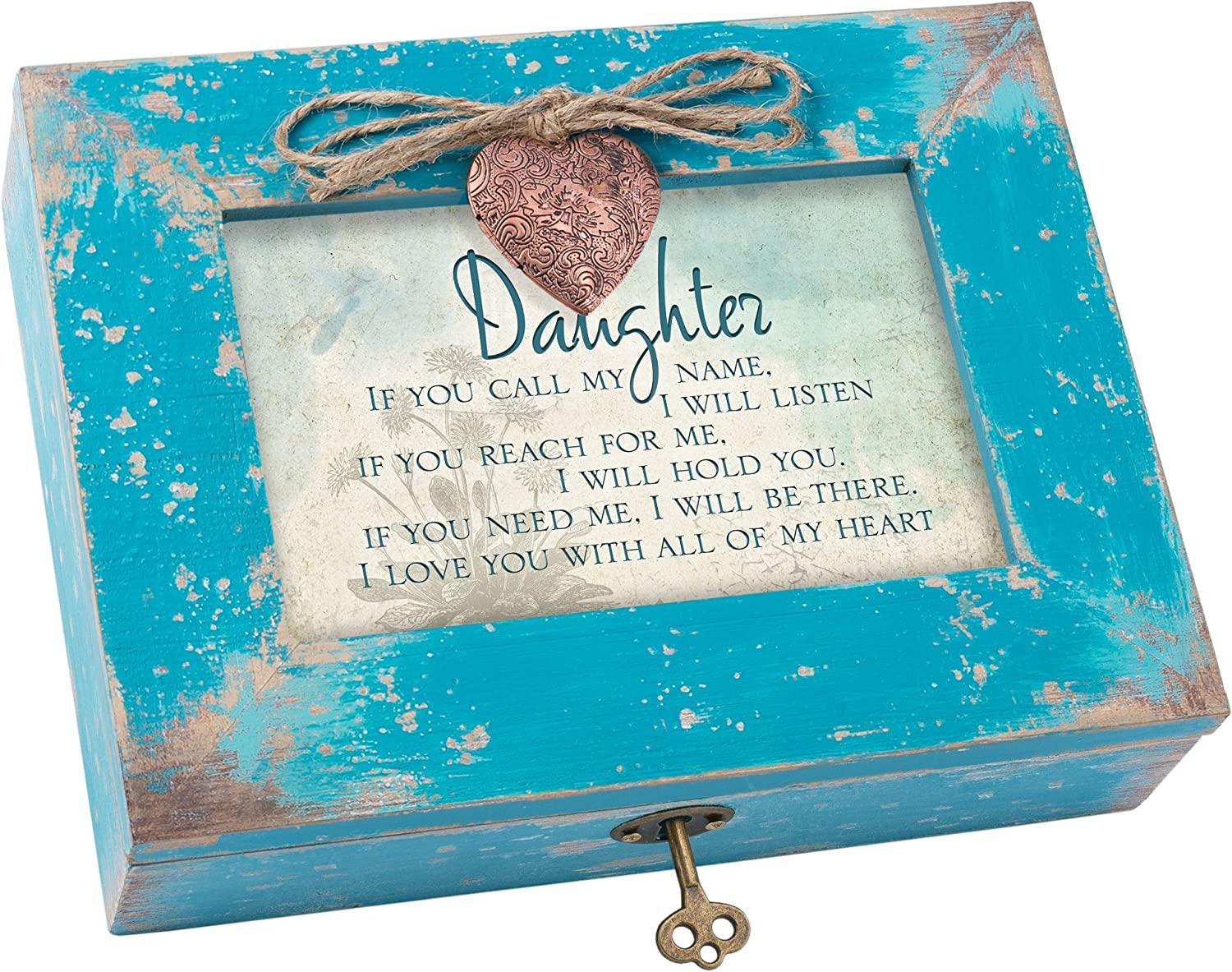 Cottage Garden Daughter Call Listen Need Me Be There Teal Distressed Jewelry Music Box Plays Wonderful World