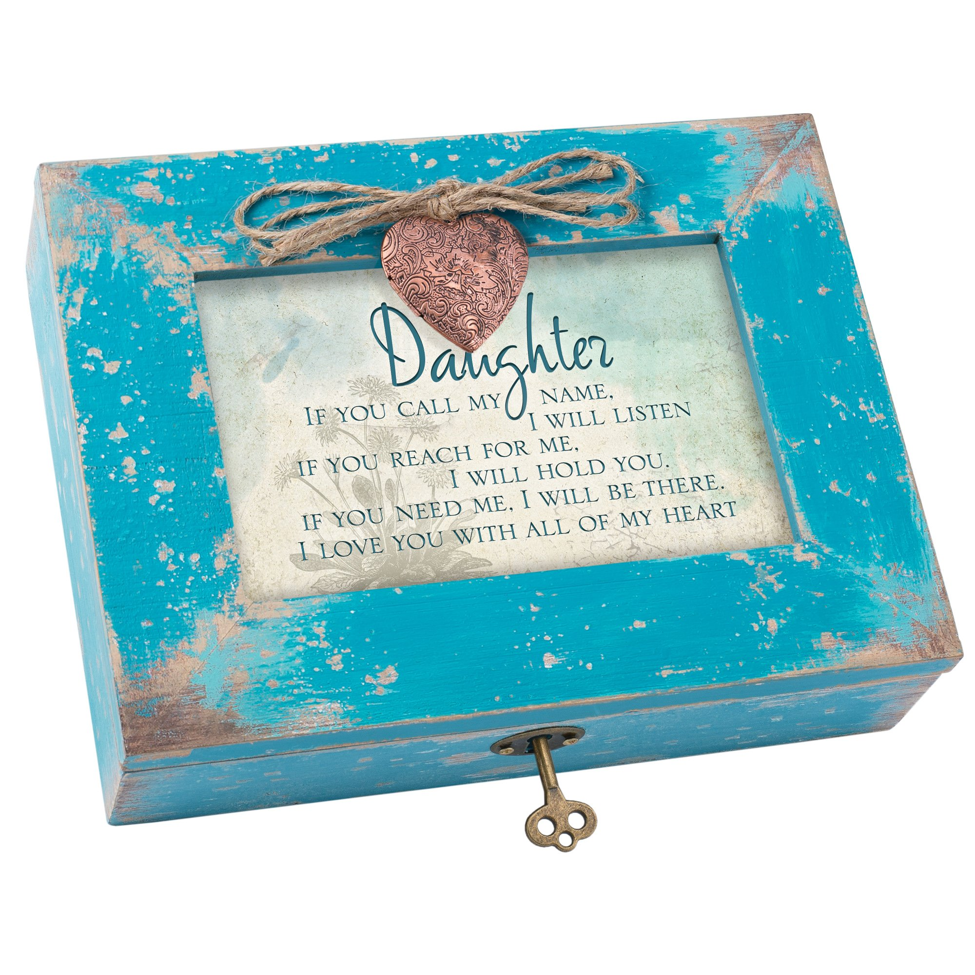 Daughter Love You All My Heart Teal Wood Locket Jewelry Music Box Plays Tune Wonderful World