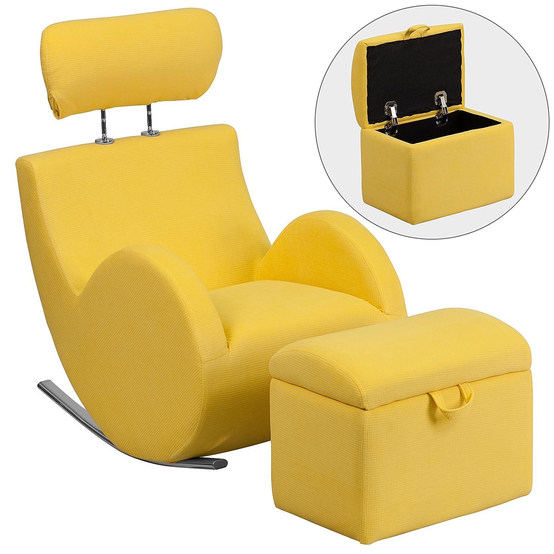 Flash Furniture LD-2025-YL-GG HERCULES Series Yellow Fabric Rocking Chair with Storage Ottoman