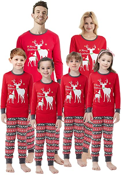 kids reindeer cotton pj set