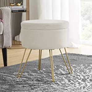 Ornavo Home Modern Round Velvet Storage Ottoman Foot Rest Vanity Stool/Seat with Gold Metal Legs & Tray Top Coffee Table - Cream