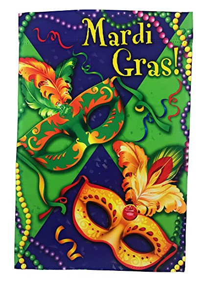 Mardi Gras Garden Flag; 12 Inches By 18 Inches; Double Sided Reads Correctly