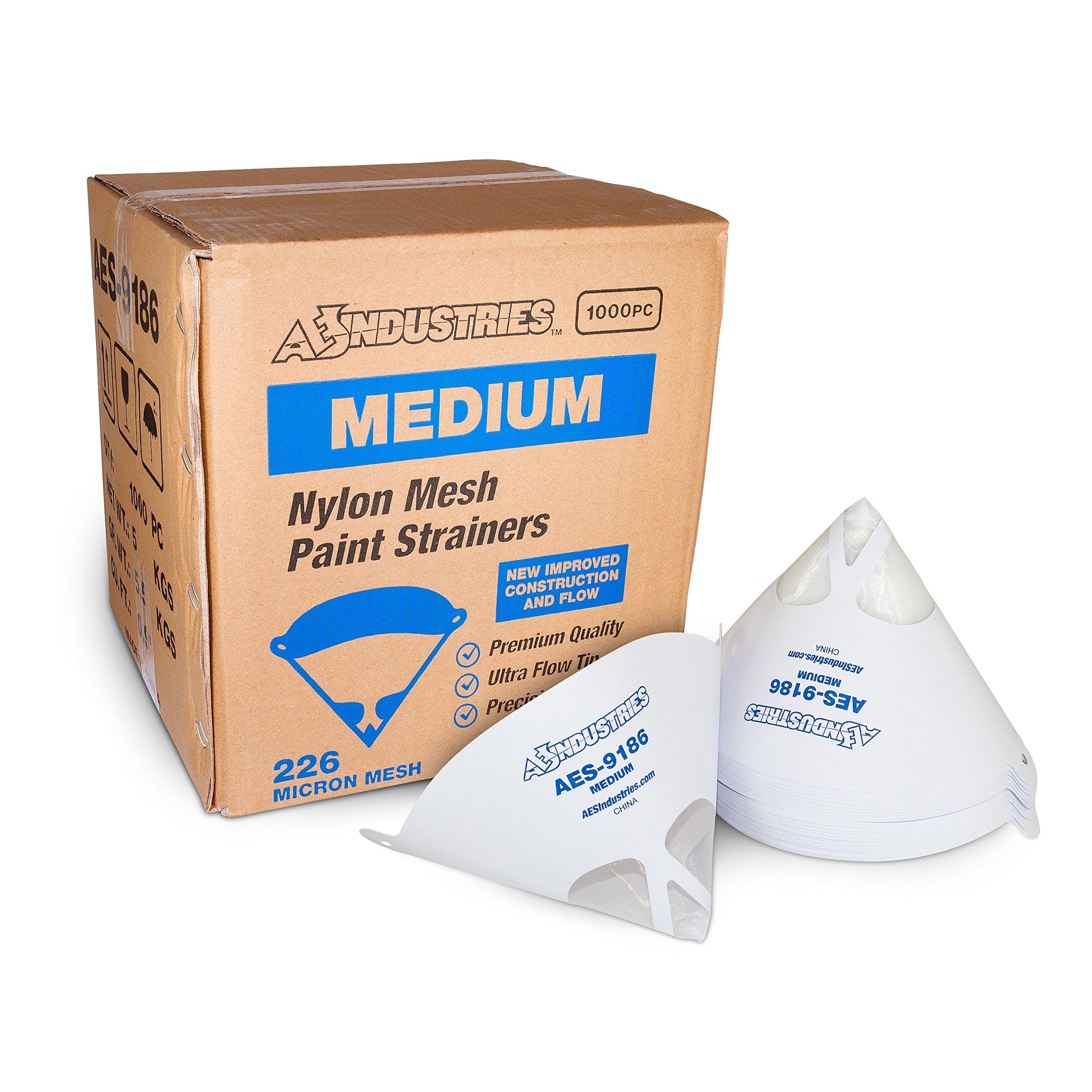 AES Industries 9186 Medium Mesh Nylon 226 Micron Ultra Flow Premium Paint Strainers (1,000)