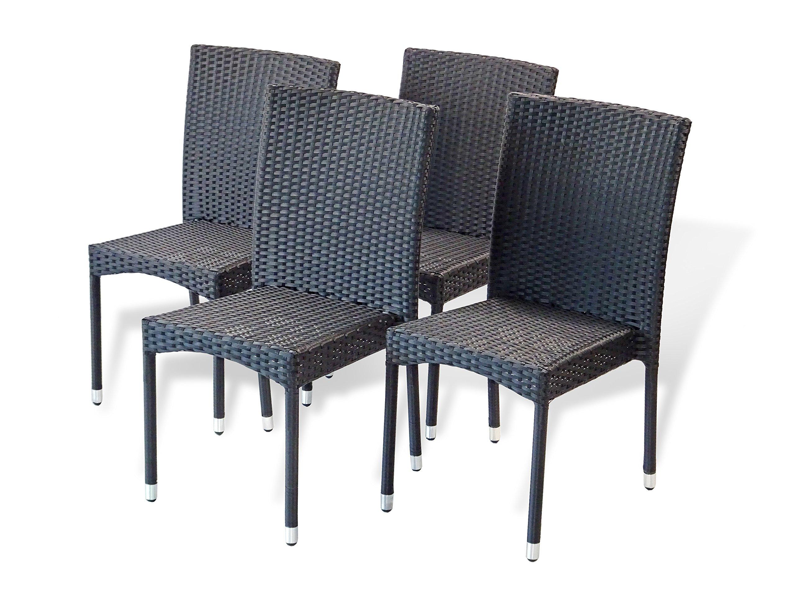 Patio Resin Outdoor Garden Yard Wicker Side Chair. Black Color (Set of 4)