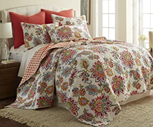 Levtex Palladium Coral Full/Queen Cotton Quilt Set Orange Jacobean