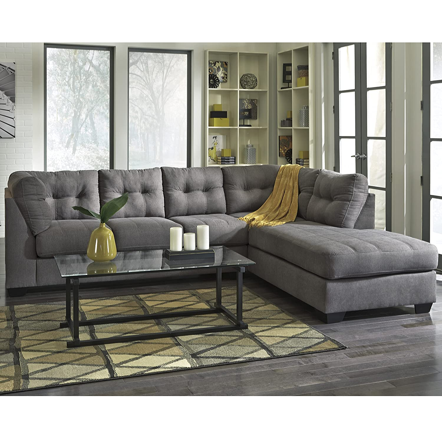 furniture sectional right benchcraft reviews fabric maier made is couch piece gray in by chaise modular sofa with