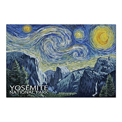 Yosemite National Park, California - Van Gogh Starry Night (Premium 1000 Piece Jigsaw Puzzle for Adults, 20x30, Made in USA!): Toys & Games