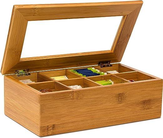 Relaxdays Caja para bolsitas té, Bambú, 8 Compartimentos, 9 x 28 x ...