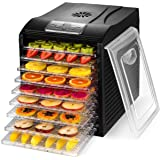 MAGIC MILL Food Dehydrator, 9 Drying Racks, 8 Digital Preset Temperature Settings and Timer with Automatic Shutoff - 1 Fine Mesh Sheet, 2 Fruit Leather Trays, 1 Hanging Rack, 1 Set Ovens Mitts