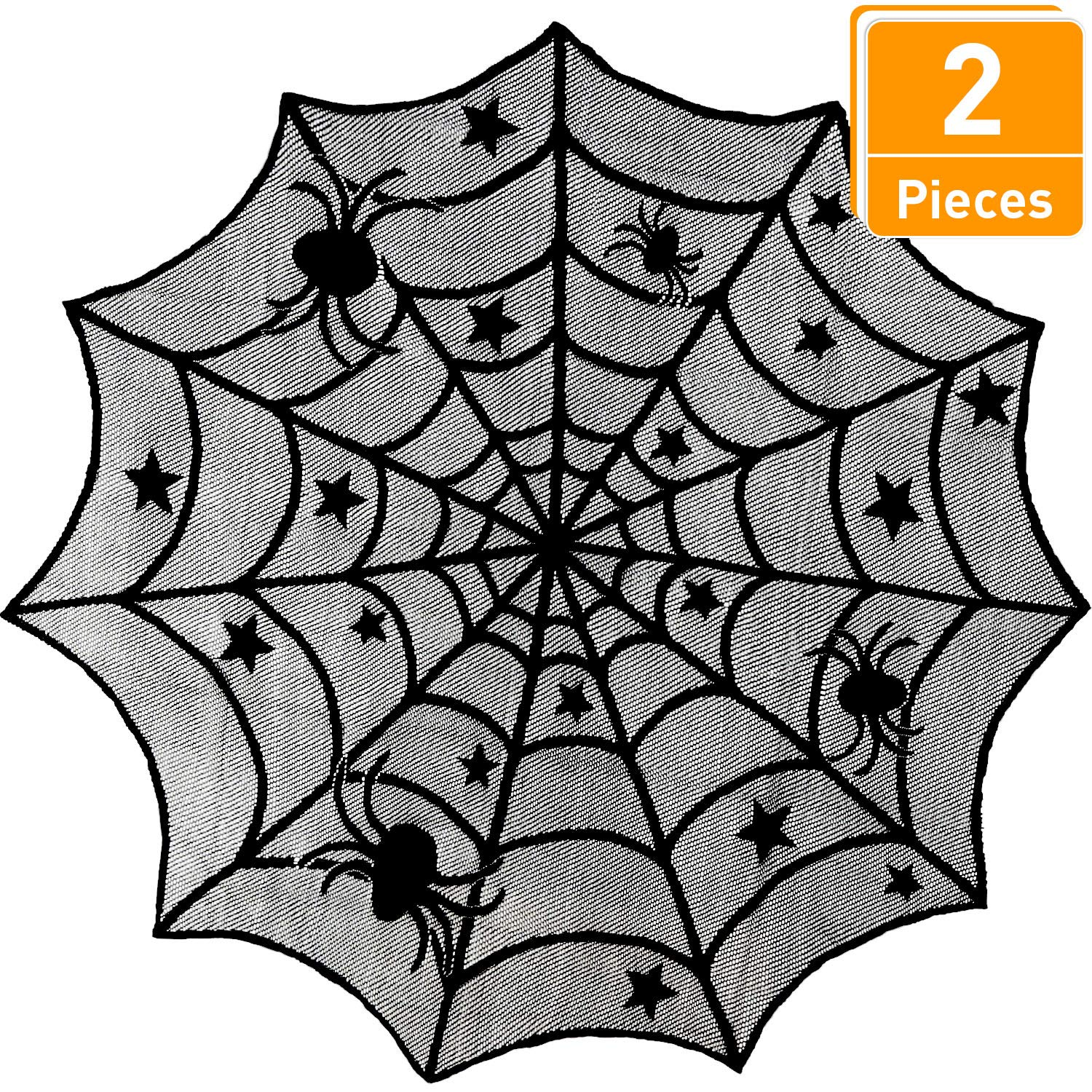 Blulu 2 Pieces Black Spider Web Tablecloth Creepy Round Lace Table Cloth for Halloween Party Decorations Supplies, 40 Inches Diameter