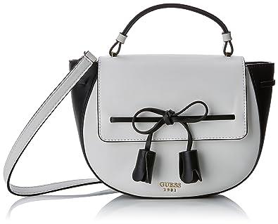 Damen Bags Hobo Umhängetasche, Mehrfarbig (White Multi), 13x20x25.5 centimeters Guess