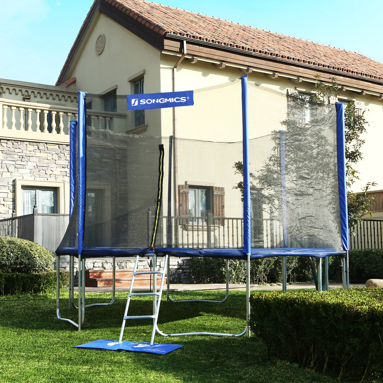SONGMICS Outdoor Trampoline 12-Feet for Kids with Enclosure Net Jumping Mat and Spring Cover Padding TÜV Rheinland Certificated According to ASTM and GS Standard Blue USTR12FT by SONGMICS (Image #2)
