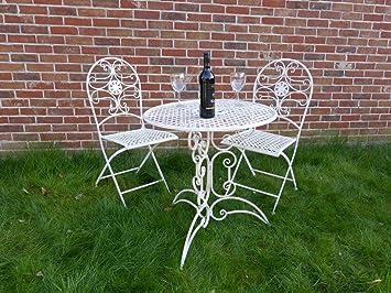 UKGardens 3 Piece Cream Metal Bistro Set For 2 Ornate Garden