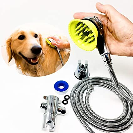 All-In-One Quality Dog Shower Kit | Innovative Shower Brush and Splash Shield | Keep Water Away From Dogs Ears, Eyes and Yourself | 8 ft Flexible Metal Hose ...