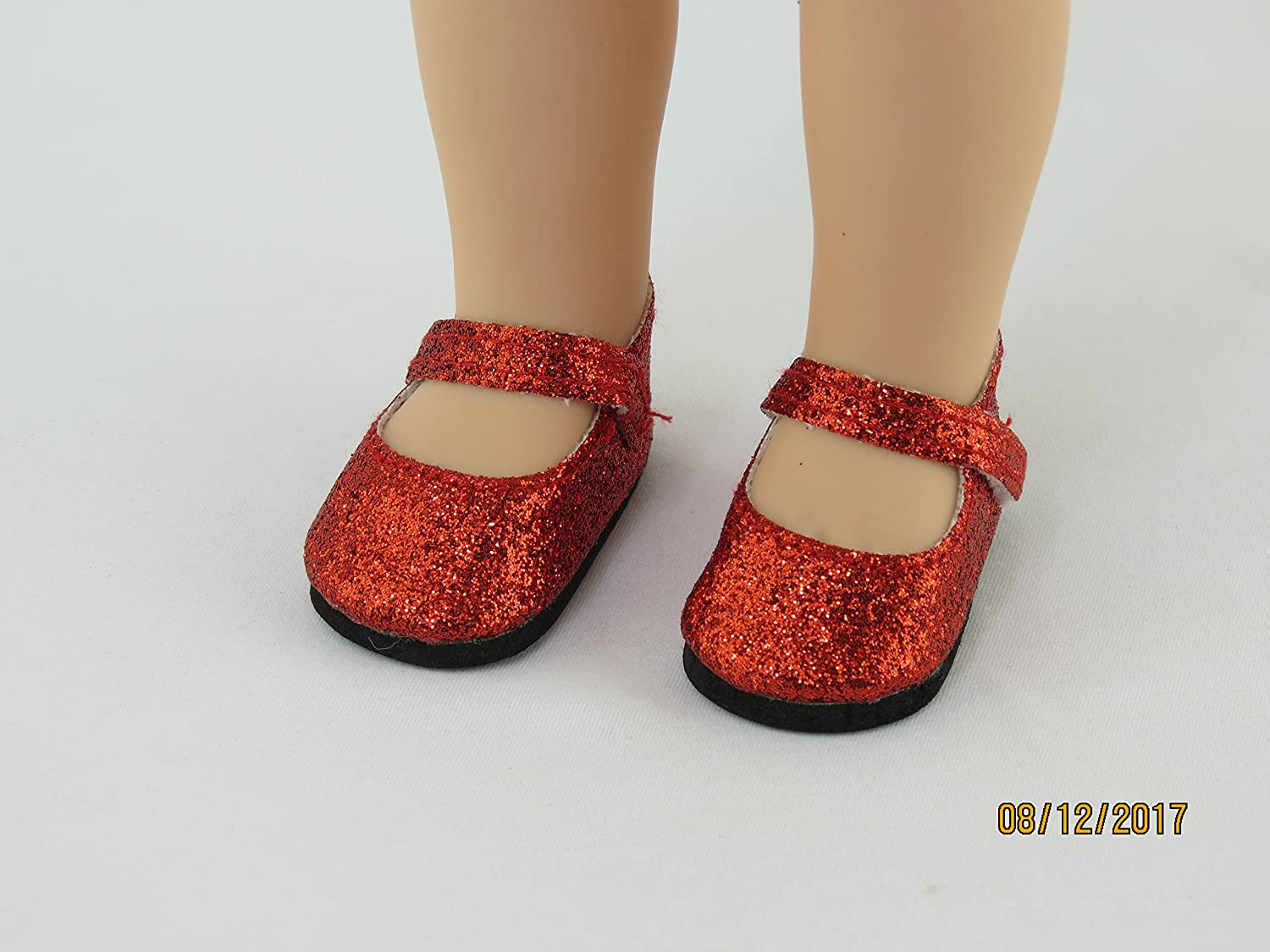4e59a40041a3 Amazon.com: American Fashion World Red and Silver Glitter Mary Jane Shoes 2  pc. | Fits 14.5