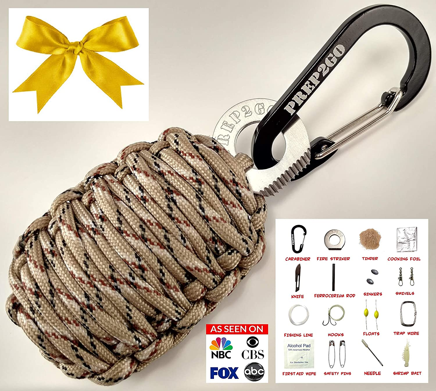 PREP2GO Paracord Survival Grenade (24pc) Keychain-Military Grade Prepper  Emergency Gear-Cool Outdoorsman Camping Hunting Gadget Gift-Moms Feel Safe!