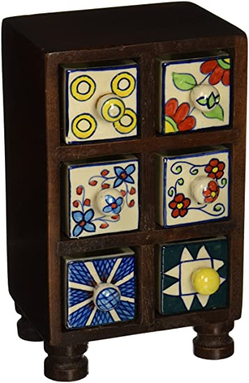 5b8c89da851 Buy Exotic India Chest of Drawers - Wood and Ceramic Online at Low Prices  in India - Amazon.in