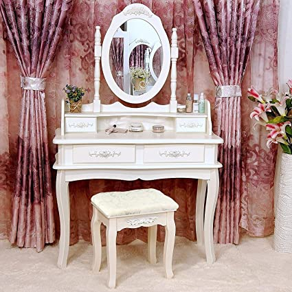 Tribesigns Makeup Vanity Table Set Bedroom Dressing Table With Stool And  Mirror (1 Mirror +