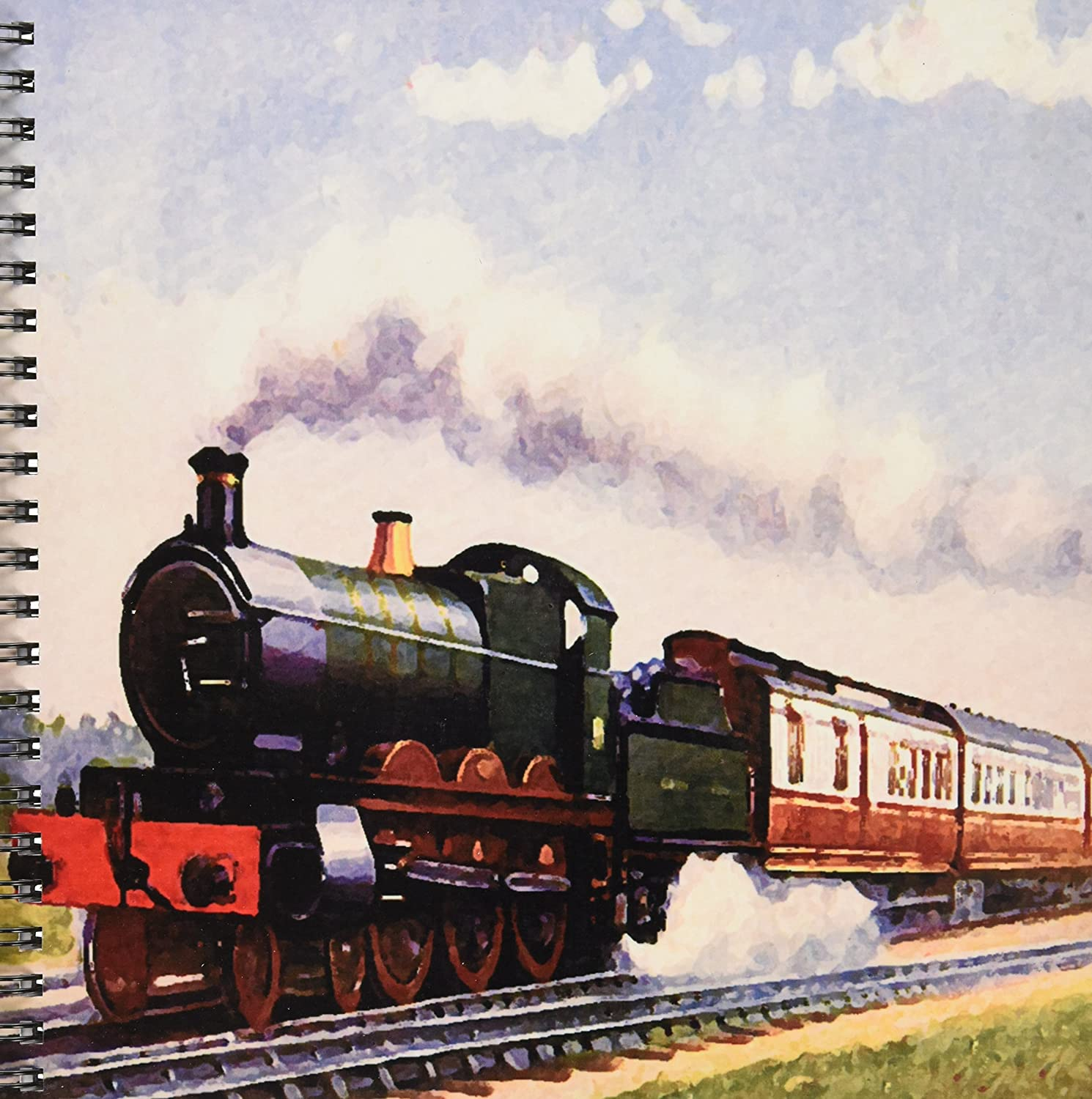 8 by 8-Inch 3dRose db/_4794/_1 Steam Train Drawing Book