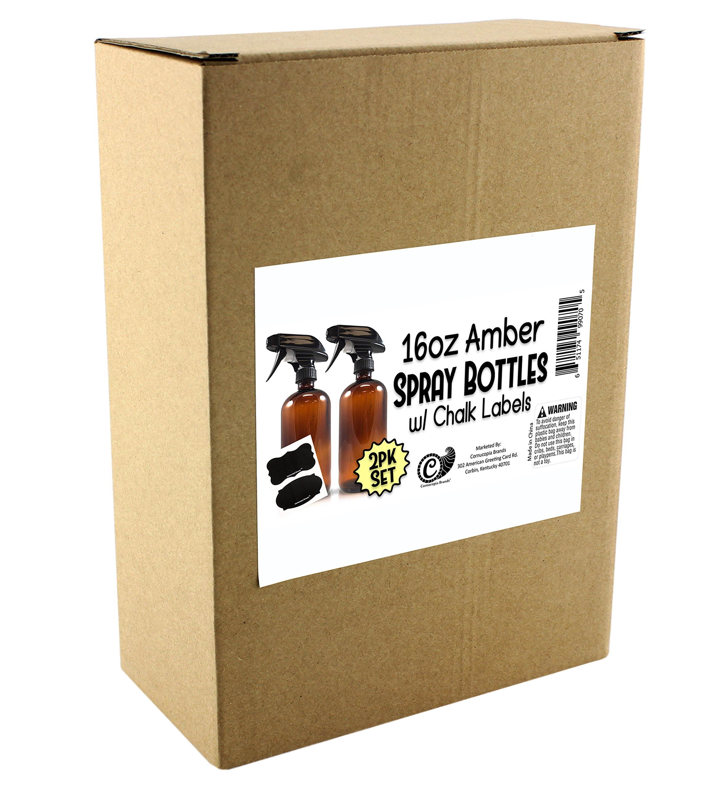 16-Ounce Amber Glass Spray Bottles w/Reusable Chalk Labels (2 Pack), Heavy Duty Mist & Stream 3-Setting Sprayer; Great for Essential Oils by Cornucopia Brands (Image #8)
