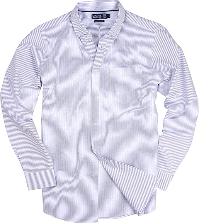 Sebaby Men Relaxed-Fit Buttoned Stripes Basic Cotton Long Sleeve Slim Shirts