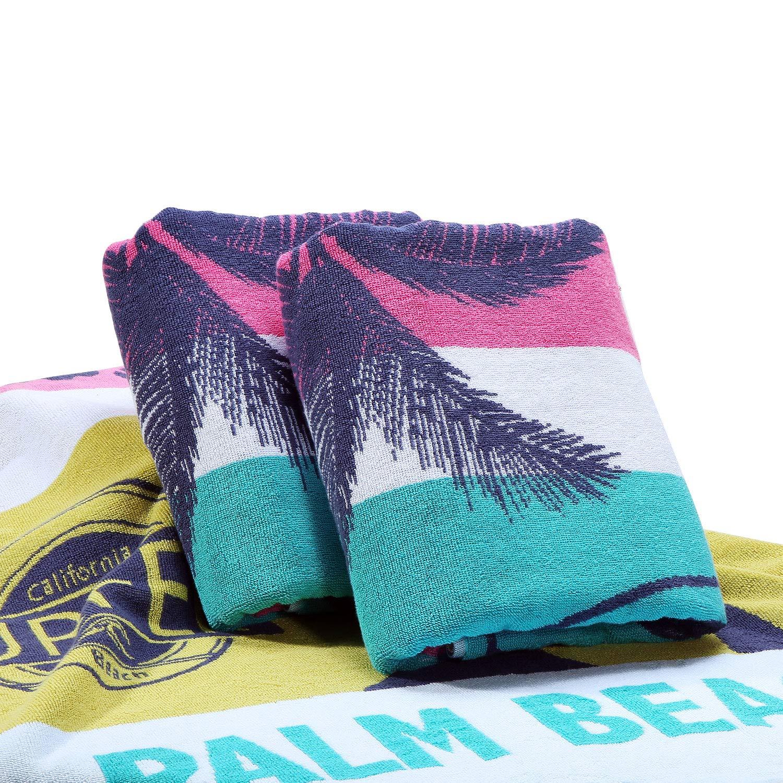 Surfwaii Oversized Plush Beach Towel 100% Combed Cotton 32x66 Inch Thick Pool Towel Cabana Towel Machine Washable (Palm Tree 1 Pack)