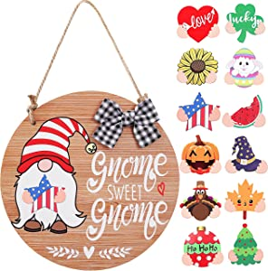CYNOSA Interchangeable Seasonal Gnome Sweet Gnome Welcome Sign Front Door Decor Wooden Gnome Door Hanger, 12 Inches Rustic Farmhouse Wall Home Sign Gnome Decor (Light Brown)