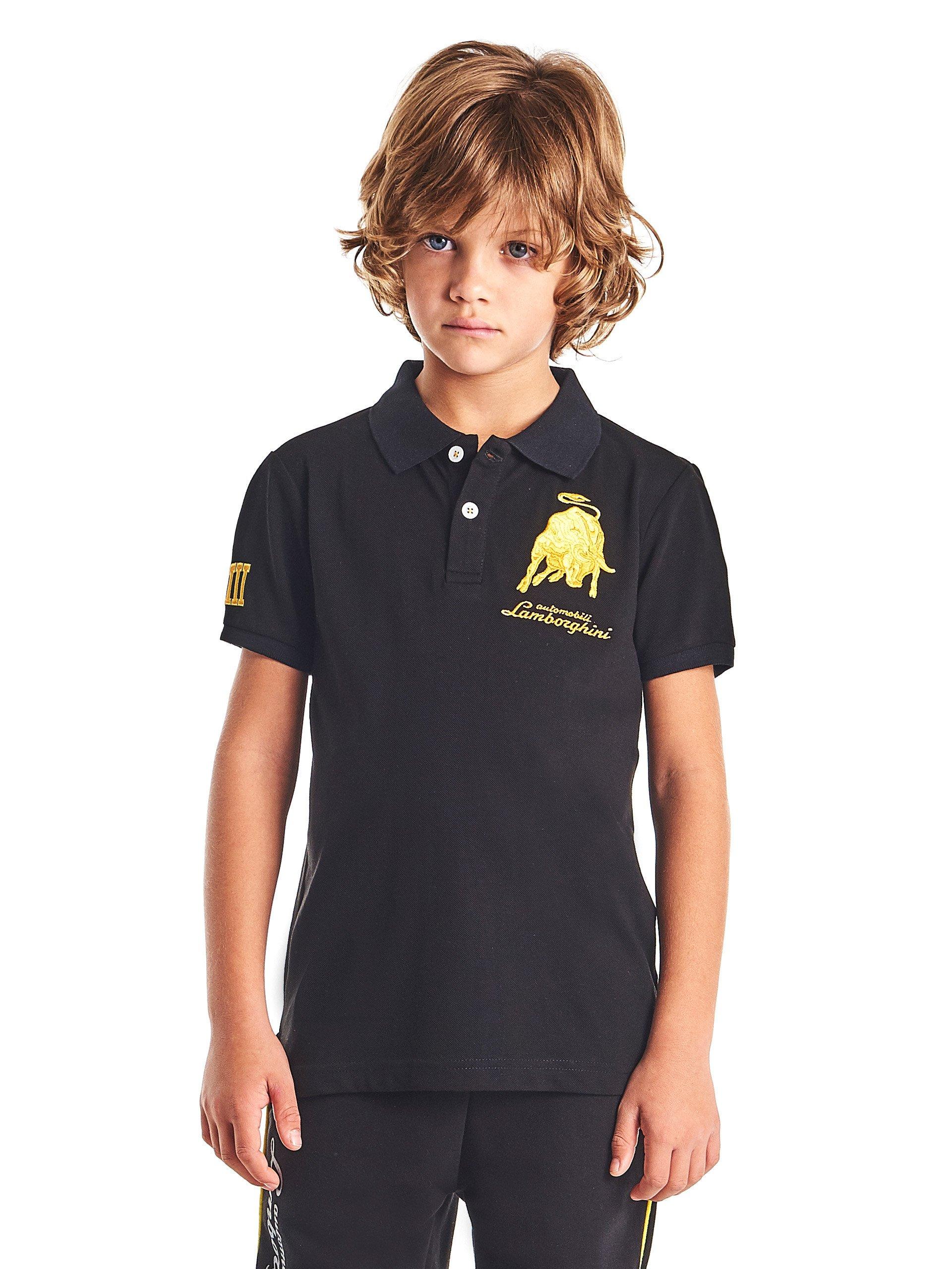LAMBORGHINI Bull LXIII Kid's Polo Shirt, Black (6 Years)