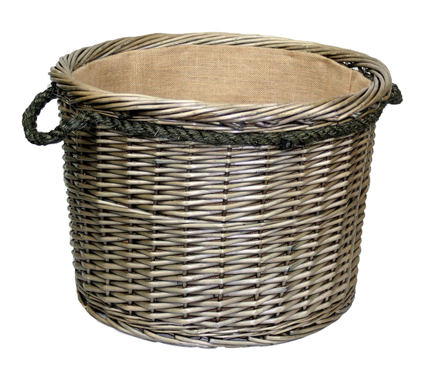 Extra Large Antique Wash Finish Rope Handled Wicker Log Basket Willow Direct