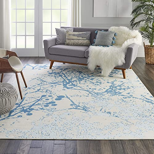 Nourison Jubilant Abstract Ivory Blue Area Rug 7 10 x 9 10 , 8 x 10
